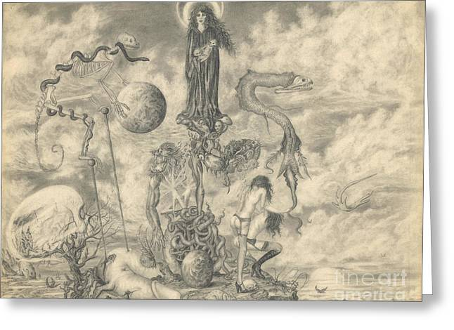 Surreal Landscape Drawings Greeting Cards - Madonna on the Island of Lost Souls Greeting Card by Frederick Seaton