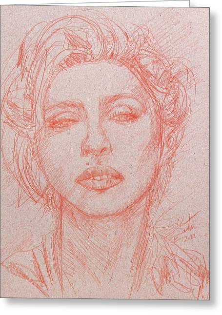 Singer Songwriter Drawings Greeting Cards - MADONNA pencil portrait.2 Greeting Card by Fabrizio Cassetta