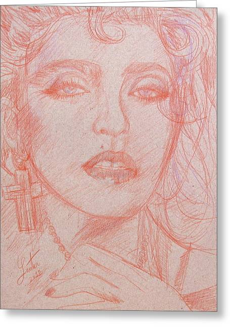 Crossed Hands Greeting Cards - MADONNA pencil portrait.3 Greeting Card by Fabrizio Cassetta