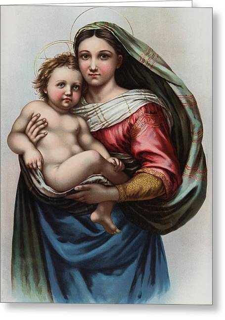 Religious Art Digital Art Greeting Cards - Madonna Greeting Card by Raphael