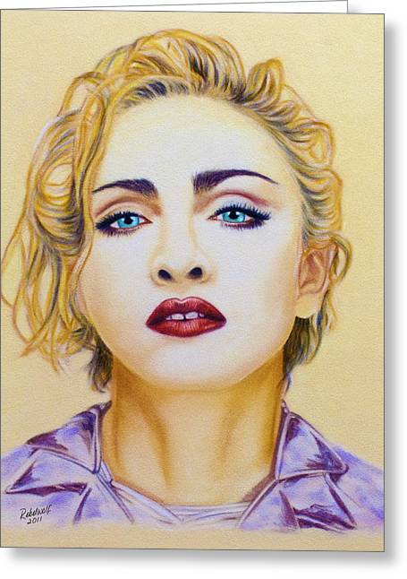 Celebrity Portraits Pastels Greeting Cards - Madonna Greeting Card by Rebelwolf
