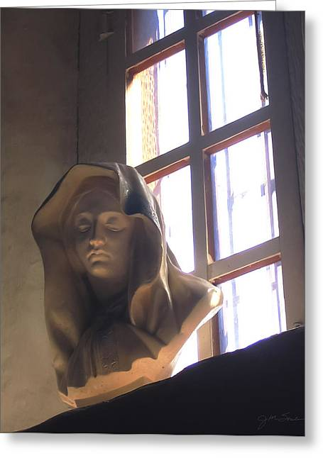 Virgin Mary Greeting Cards - Madonna Statue in Mission Window Greeting Card by Julie Magers Soulen