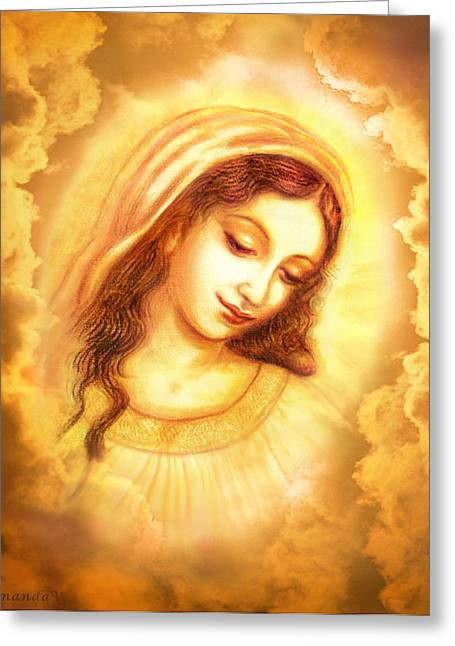 Madonna And Child Greeting Cards - Madonna Vision in the Clouds Greeting Card by Ananda Vdovic