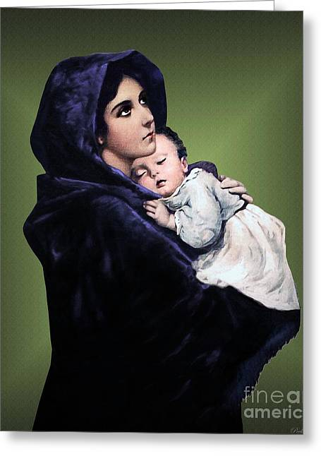 Rosary Mixed Media Greeting Cards - Madonna with Child Greeting Card by A Samuel