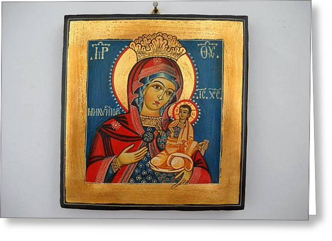 Handpainted Icon Greeting Cards - Madonna with Child Jesus  Romanian Byzantine Icon Greeting Card by Denise Clemenco