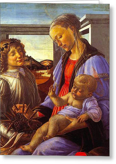 Religious Art Greeting Cards - Madonna With Child Greeting Card by Vintage Christmas Card