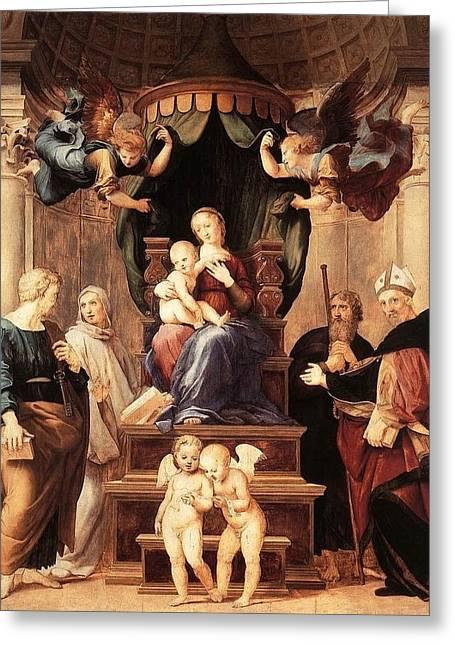 Palatina Greeting Cards - Madonna with the Baldachino Greeting Card by Raffaello Sanzio
