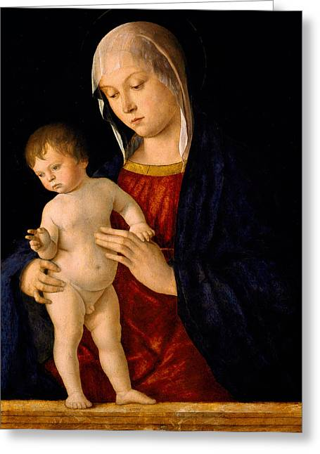 Madonna And Child Greeting Cards - Madonna with the Child Blessing Greeting Card by Giovanni Bellini