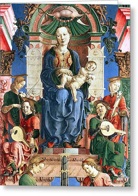 Polyptych Greeting Cards - Madonna with the Child Enthroned  Greeting Card by Cosme Tura