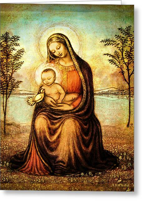 Jesus And The Children Print Greeting Cards - Madonna with the Dove Greeting Card by Ananda Vdovic