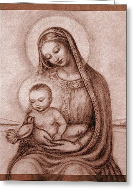Featured Art Greeting Cards - Madonna with the Dove Detail Greeting Card by Ananda Vdovic