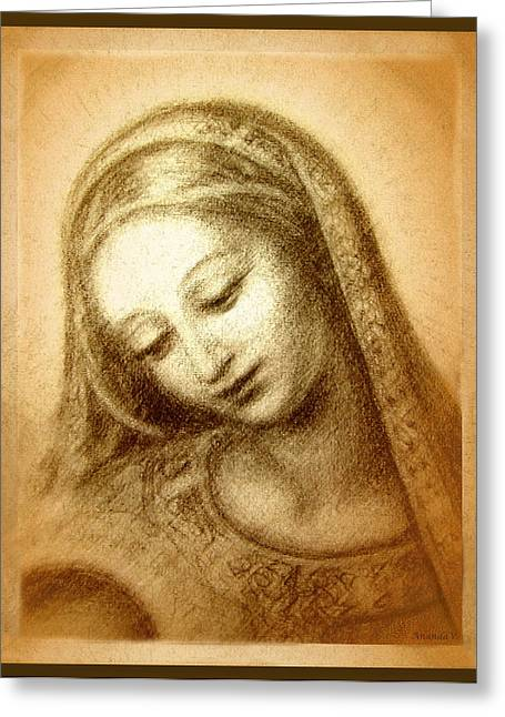 Religious Greeting Cards - Madonna with the Dove Face Greeting Card by Ananda Vdovic