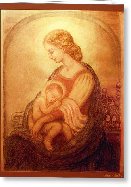 Madonna Art Greeting Cards - Madonna with the sleeping child Greeting Card by Ananda Vdovic