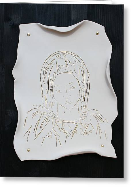 Fine Art Ceramics Greeting Cards - Madonnina Greeting Card by Elisa Bracciali