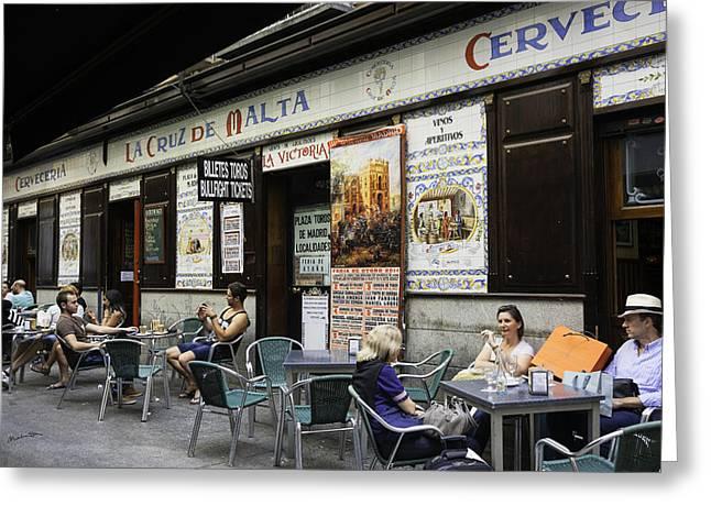 European Restaurant Greeting Cards - Madrid Cafe 2014 Greeting Card by Madeline Ellis
