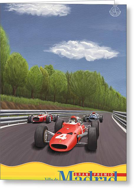 Rally Greeting Cards - Madrid Grand Prix 1967 Greeting Card by Nomad Art And  Design