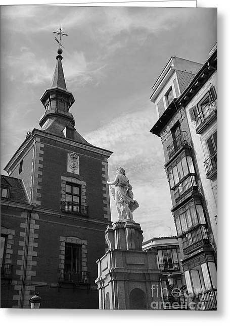 Town Square Greeting Cards - Madrid Musing Greeting Card by Carol Groenen