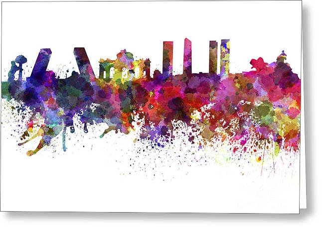 Madrid Greeting Cards - Madrid skyline in watercolor on white background Greeting Card by Pablo Romero
