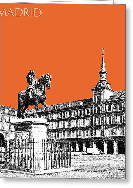 Pen Greeting Cards - Madrid Skyline Plaza Mayor - Coral Greeting Card by DB Artist