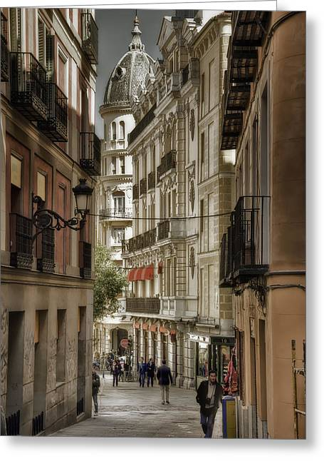 Joan Carroll Greeting Cards - Madrid Streets Greeting Card by Joan Carroll