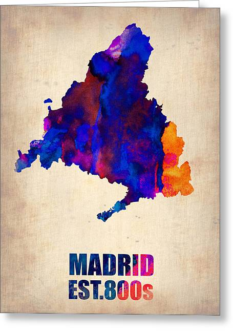 Madrid Greeting Cards - Madrid Watercolor Map Greeting Card by Naxart Studio