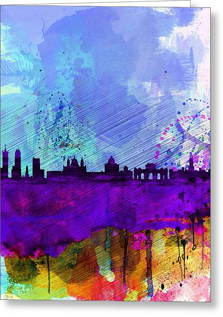Architectural Landscape Greeting Cards - Madrid Watercolor Skyline Greeting Card by Naxart Studio