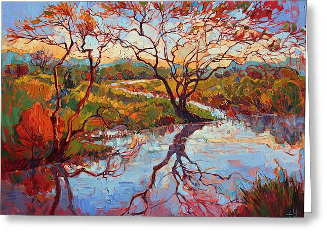 Recently Sold -  - Reflection In Water Greeting Cards - Madrona Marsh Greeting Card by Erin Hanson
