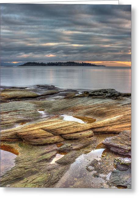 Ocean Shore Greeting Cards - Madrona Sunrise Greeting Card by Randy Hall
