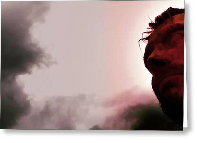 Famous Person Mixed Media Greeting Cards - Mads Mikkelsen - Valhalla Rising - Red Face  Greeting Card by Nenad  Cerovic