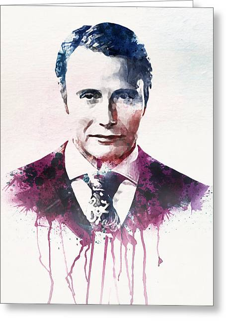 Mads Mikkelsen Watercolor Greeting Card by Marian Voicu