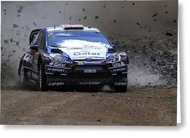 World Rally Championship Greeting Cards - Mads Ostberg Fia World Rally Championship Australia Greeting Card by Noel Elliot