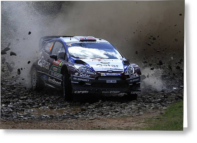World Rally Championship Greeting Cards - Mads Ostberg FIA World Rally Champonship Australia Greeting Card by Noel Elliot