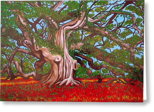 Medusa Paintings Greeting Cards - Madusa Tree Searching for Treasure Greeting Card by Annette Jimerson