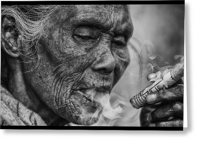 Sot Greeting Cards - Mae Sot Smoker Greeting Card by David Longstreath