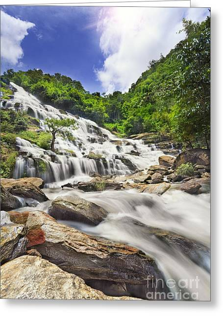 Doi Greeting Cards - Mae Ya waterfall in Doi Inthanon national park Greeting Card by Anek Suwannaphoom