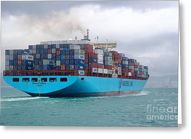 Recently Sold -  - Raining Greeting Cards - Maersk Kotka in Hong Kong Greeting Card by Charline Xia