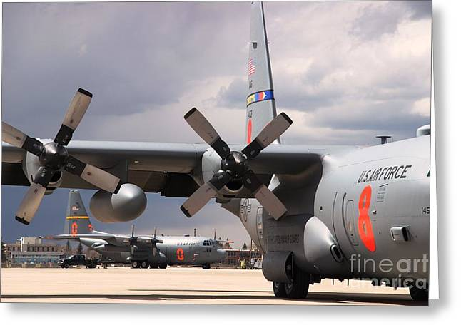 Greeting Card featuring the photograph Maffs C-130s At Cheyenne by Bill Gabbert