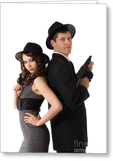 Tommy Hat Greeting Cards - Mafia Couple Greeting Card by Diana Jo Marmont