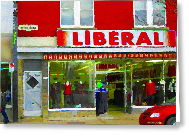 Verdun Connections Greeting Cards - Magazin Liberal Dress Shop On Rue Notre Dame Montreal St.henri City Scenes Carole Spandau Greeting Card by Carole Spandau