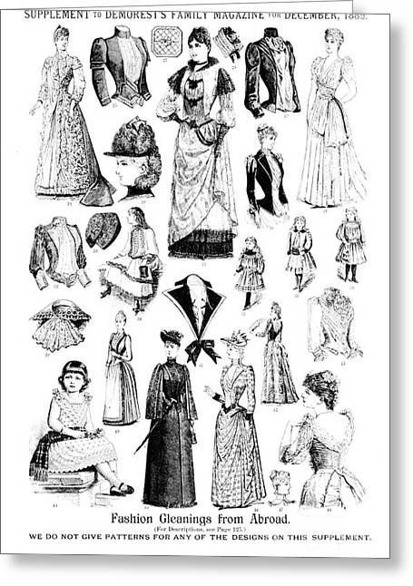 Gleaning Greeting Cards - Magazine Fashion Supplement 1889 Greeting Card by Padre Art