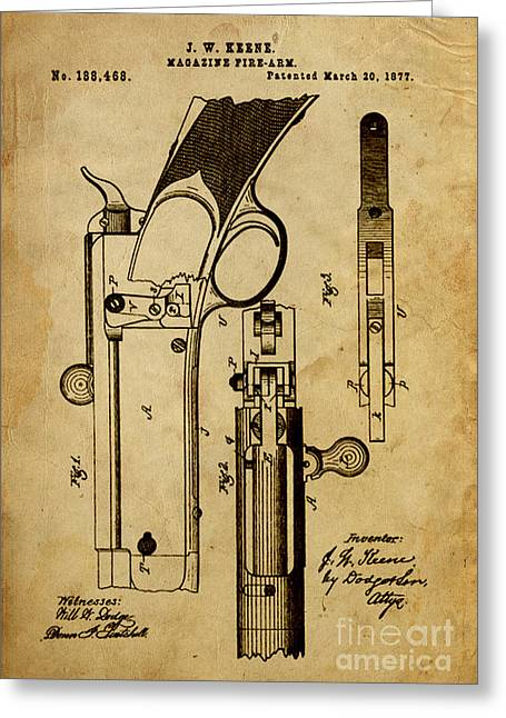 Pistol Drawings Greeting Cards - Magazine Fire-Arm - Patented on 1877 Greeting Card by Pablo Franchi