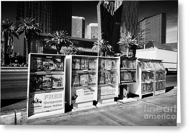 magazine stands free coupons guides and escort directories Las Vegas Nevada USA Greeting Card by Joe Fox
