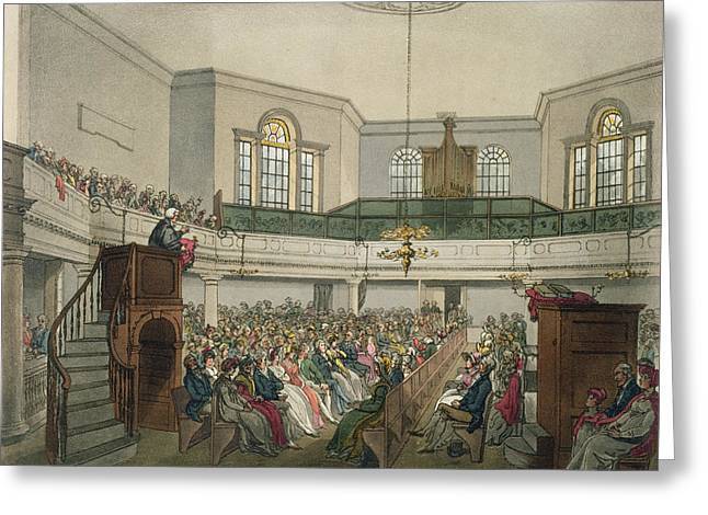Speeches Greeting Cards - Magdalen Chapel Greeting Card by Pugin And Rowlandson