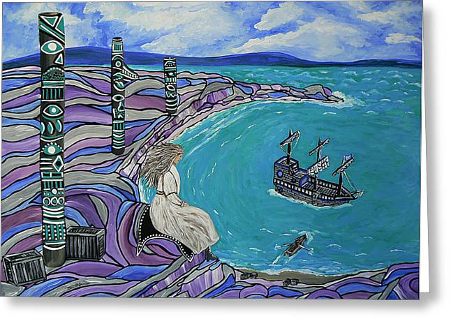 Canadian Culture Paintings Greeting Cards - Magdalen Island Explorers Greeting Card by Barbara St Jean