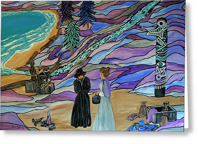 Canadian Culture Paintings Greeting Cards - Magdalen Island Settlers Greeting Card by Barbara St Jean