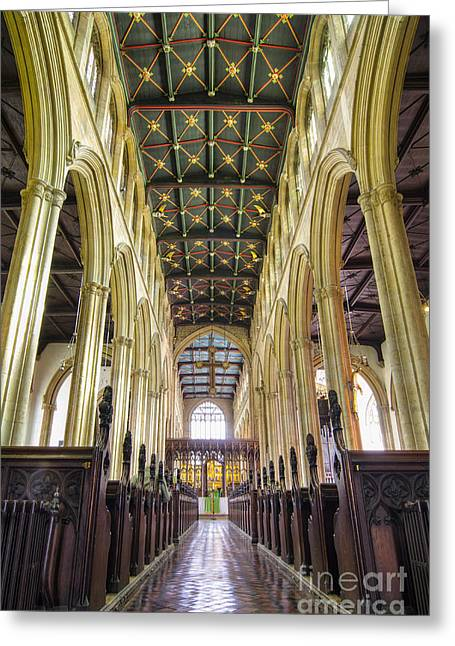 St Mary Magdalene Photographs Greeting Cards - Magdalene aisles Greeting Card by Steev Stamford