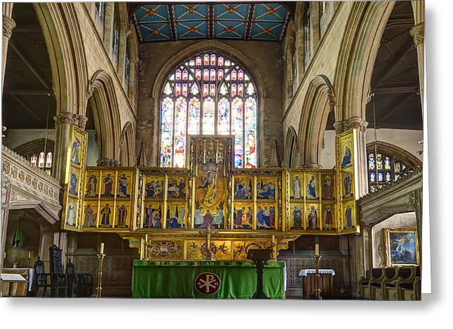 St Mary Magdalene Photographs Greeting Cards - Magdalene church altar Greeting Card by Steev Stamford
