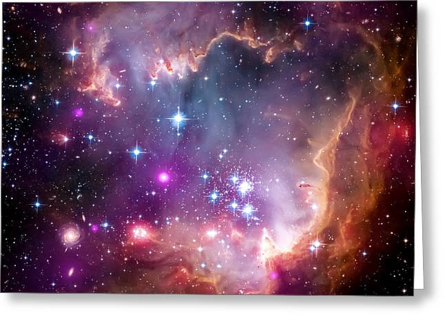 Hubble Photographs Greeting Cards - Magellanic Cloud 3 Greeting Card by The  Vault - Jennifer Rondinelli Reilly