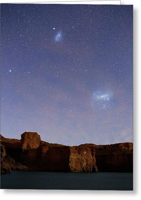 Magellanic Clouds Over Cliffs Greeting Card by Luis Argerich