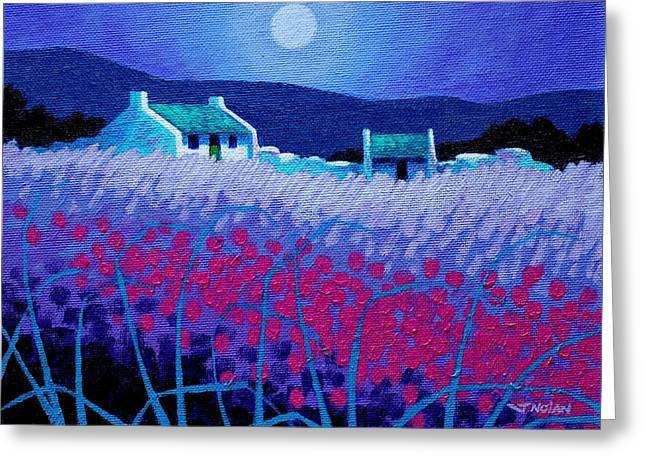 Acrylic Greeting Cards - Magenta Field Greeting Card by John  Nolan